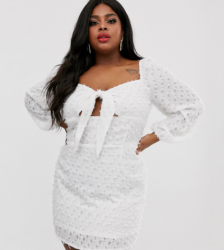 Lasula Plus textured square neck tie front mini dress with baloon sleeves in white