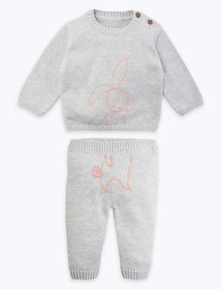 Marks and Spencer 2 Piece Cotton Knitted Bunny Outfit