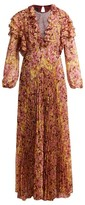 Giambattista Valli Pleated Floral-print Silk Dress - Womens - Burgundy Print