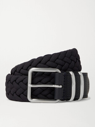 Andersons 3.5cm Leather-Trimmed Woven Elastic Belt
