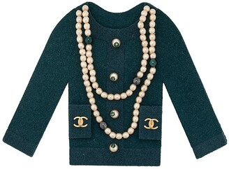 Chanel Pre Owned Pearl Embellished Cardigan Brooch