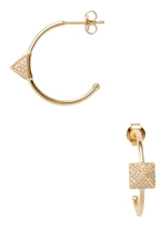 Amrapali 18K Yellow Gold & 0.35 Total Ct. Pave Diamond Pyramid Hoop Earrings