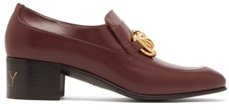 Gucci Ebal Horsebit Leather Loafers - Womens - Burgundy