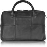 "Giorgio Fedon British Black Leather Briefcase w/13"" Laptop Compartment"