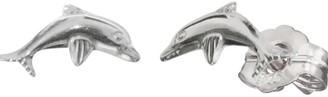 Herzengel Ear Studs for Girls with Little Dolphin 925-Sterling Silver Rhodium Plated Size 4 5 mm