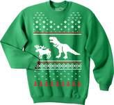Crazy Dog T-shirts Crazy Dog Thirt T-Rex Attack Chritma Uglyweater Uniex Crew Neckweathirt (Kelly )