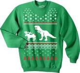 Crazy Dog T-shirts Crazy Dog Tshirts T-Rex Attack Christmas Ugly Sweater Unisex Crew Neck Sweatshirt (Forest )