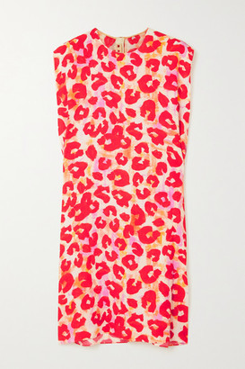 Marni Leopard-print Crepe Mini Dress - Red