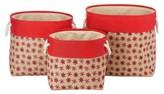 Whitmor Nesting Burplap Decorative Bin - Set of 3 - Red Snowflake (Large)