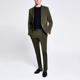 River Island Mens Khaki high shine skinny stretch suit trousers