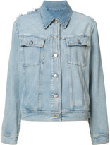 MM6 MAISON MARGIELA frayed detail denim jacket - women - Cotton - 44