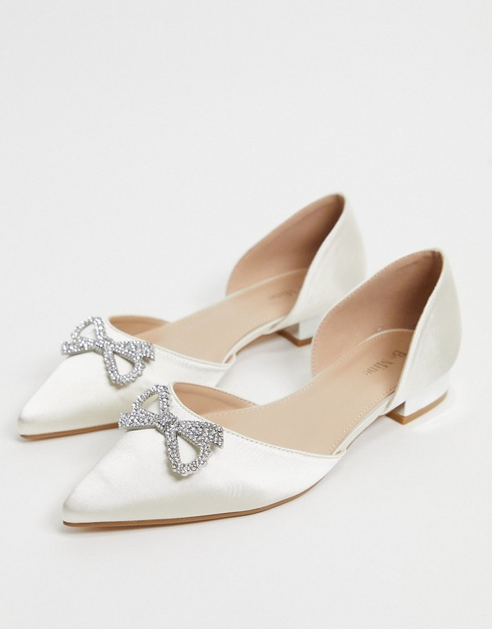 Be Mine Bridal Andi flat shoes with embellishment in ivory satin