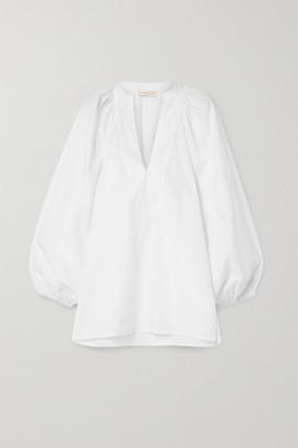 Tory Burch Grosgrain-trimmed Cotton-poplin Blouse - Off-white
