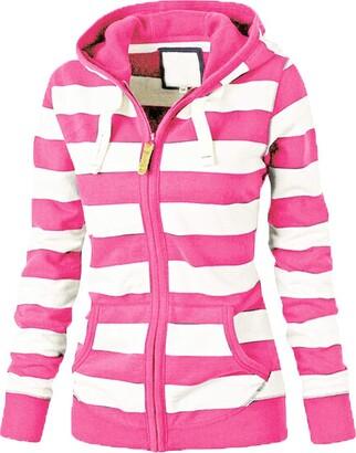 Reooly Women Hooded Slim Zipper Jumper Sweatshirt