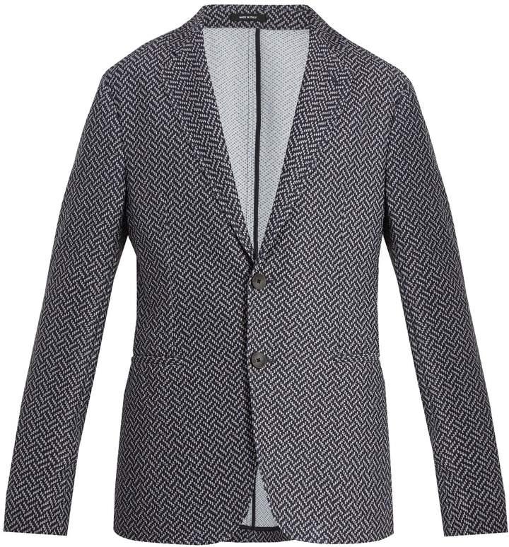Giorgio Armani Single-breasted chevron-jacquard blazer