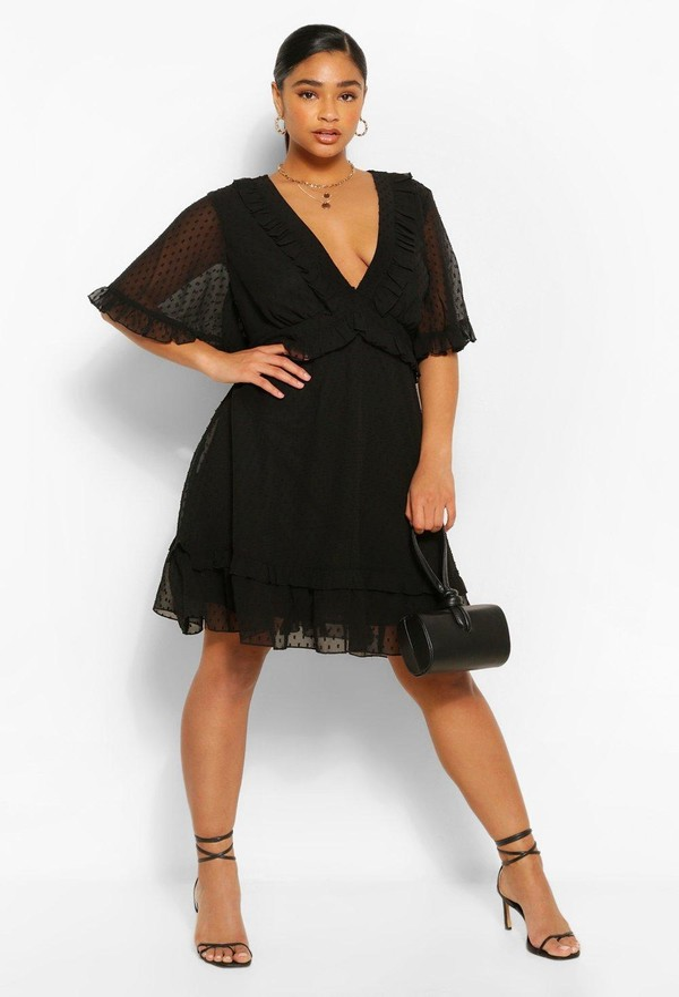 boohoo Plus Dobby Mesh Ruffle Angel Sleeve Skater Dress