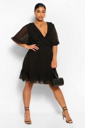 boohoo Plus Dobby Mesh Ruffle Angel Sleeve Skater Dress