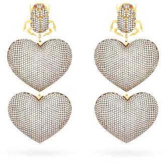 BEGÜM KHAN Scarab Mon Amour Gold-plated Clip Earrings - Silver