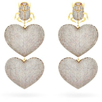BEGÜM KHAN Scarab Mon Amour Gold-plated Clip Earrings - Womens - Silver