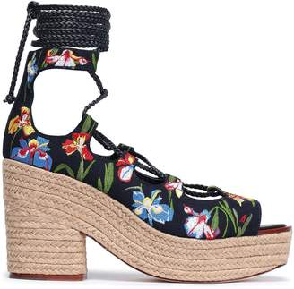 Tory Burch Embroidered Canvas Platform Espadrille Sandals