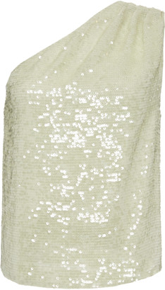 Sally LaPointe One-Shoulder Sequined Georgette Top