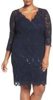 Marina Plus Size Women's Sequin Lace V-Neck Sheath Dress