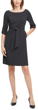 Calvin Klein 3/4-Sleeve Belted Sheath Dress