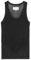 Maison Margiela Fringed cotton mesh tank top
