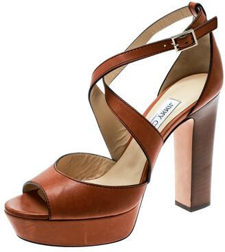 Jimmy Choo Brown Leather April Cross Strap Platform Block Heel Sandals Size 40