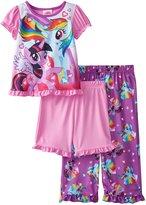 My Little Pony Little Girls' Rainbow Dash and Twilight Sparkle 3-Piece Pajama Set