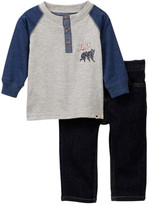 Lucky Brand Long Sleeve Henley & Jean Set (Baby Boys)