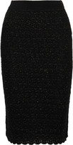Sibling Metallic wool-blend bouclé pencil skirt