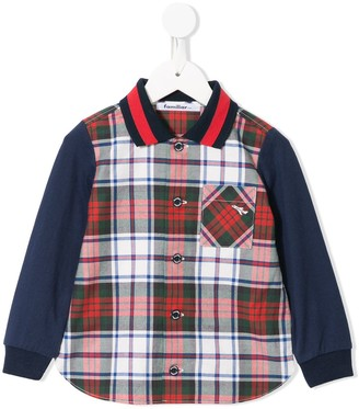Familiar Contrast Sleeve Checked Shirt
