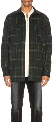 Fear Of God Long Sleeve Plaid Button Up in Green & Navy Plaid | FWRD