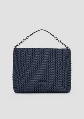 Emporio Armani Hobo Bag In Quilted Faux Nappa Leather With Drop Motif