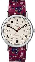 Timex Women's Weekender Watch, Violet Floral Reversible Nylon Slip-Thru Strap