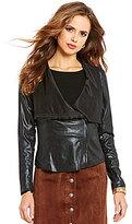 Gianni Bini Brynn Draped Neck Faux-Leather Jacket