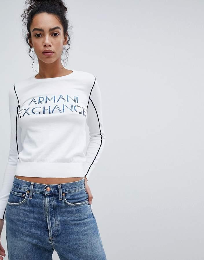 Armani Exchange Metallic Logo Knitted Sweater