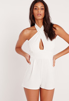 Missguided Cross Front Romper White