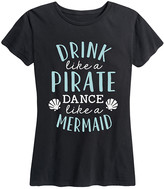 Instant Message Women's Women's Tee Shirts BLACK - Black 'Drink Like A Pirate, Dance Like A Mermaid' Relaxed-Fit Tee - Women