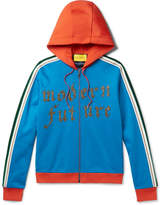 Gucci Embroidered and Appliquéd Jersey Zip-Up Hoodie