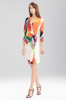 Josie Natori Printed Jersey Long Sleeve Dress
