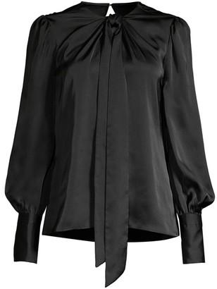 Elie Tahari Bali Puff-Sleeve Silk Shirt