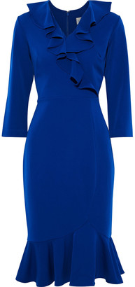 Mikael Aghal Fluted Ruffle-trimmed Stretch-cady Dress