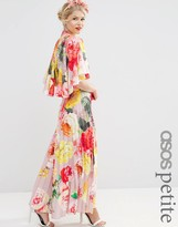 Asos WEDDING Printed Pleated Maxi With Drape Back & Cape Sleeve