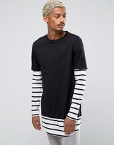 Asos Longline Long Sleeve T-Shirt With Stripe Double Layer Effect