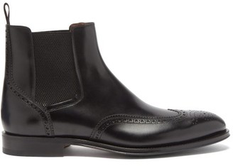 Santoni Phoenix Leather Brogue Chelsea Boots - Black