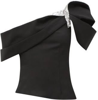 Isabel Marant Lotie Sequin-embellished One-shoulder Top - Black