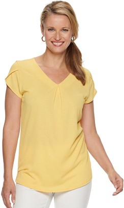 Croft & Barrow Women's Pleated Cap Sleeve Top