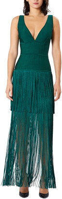 Herve Leger Sleeveless Deep V-Neck Fringe Gown